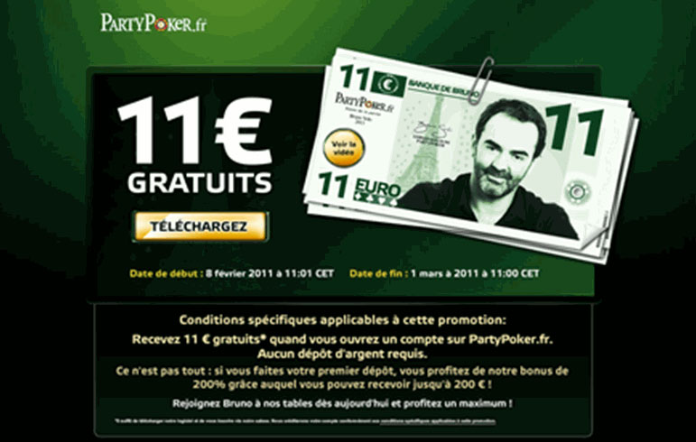 11€ gratuit offert par party poker